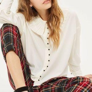 Topshop Pleated Ruffle Collar White Button Shirt